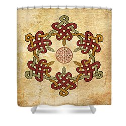 Shower Curtain featuring the painting Gold Burgundy Celtic Knot by Kandy Hurley