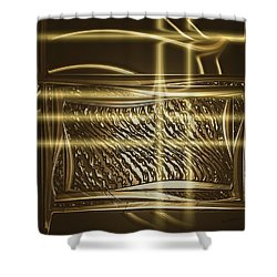 Gold Chrome Abstract Shower Curtain