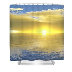 Shower Curtain featuring the digital art Gold Coast by Mark Greenberg