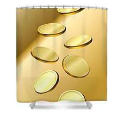 Shower Curtain featuring the digital art Gold Coins by Cyril Maza