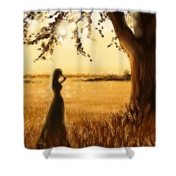 Gold Field Shower Curtain by Veronica Minozzi