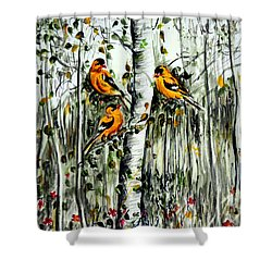 Gold Finches Shower Curtain