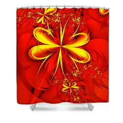 Gold Flowers Shower Curtain by Lena Auxier