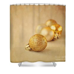 Gold Glittery Christmas Baubles Shower Curtain by Lyn Randle