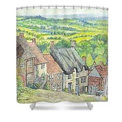 Gold Hill Shaftesbury Dorset England Shower Curtain by Carol Wisniewski