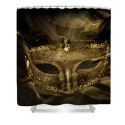 Gold In The Mask Shower Curtain by Amanda Eberly-Kudamik