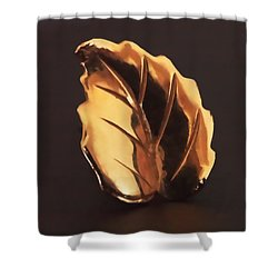 Gold Leaf Shower Curtain by Rona Black