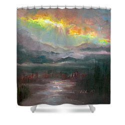 Gold Lining - Chugach Mountain Range En Plein Air Shower Curtain by Talya Johnson
