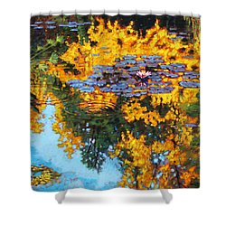 Gold Reflections Shower Curtain by John Lautermilch