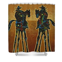 Gold Riders Shower Curtain by Lance Headlee