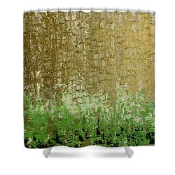Gold Sky Green Grass Shower Curtain