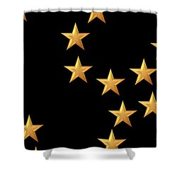 Gold Stars Abstract Triptych Part 2 Shower Curtain by Rose Santuci-Sofranko