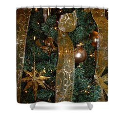 Gold Tones Tree Shower Curtain by Barbie Corbett-Newmin