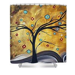 Golden Admiration By Madart Shower Curtain by Megan Duncanson