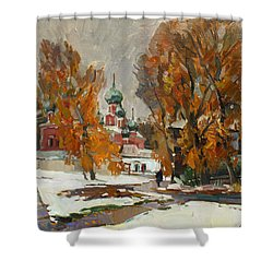 Golden Autumn Under Snow Shower Curtain