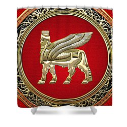 Golden Babylonian Winged Bull  Shower Curtain
