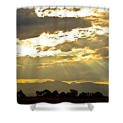 Golden Beams Of Sunlight Shining Down Shower Curtain by James BO  Insogna