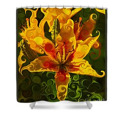 Shower Curtain featuring the painting Golden Beauties by Omaste Witkowski