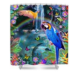 Golden Bluebirds Paradise Version 2 Shower Curtain by Alixandra Mullins