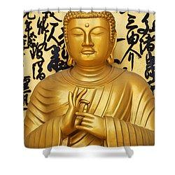 Golden Buddha Statue At The World Peace Pagoda Pokhara Shower Curtain by Robert Preston
