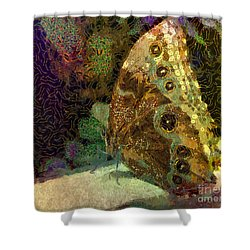 Golden Butterfly Shower Curtain