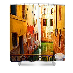 Golden Canal Shower Curtain