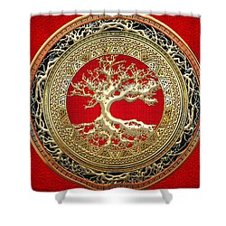 Golden Celtic Tree Of Life  Shower Curtain