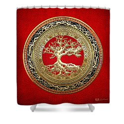 Golden Celtic Tree Of Life  Shower Curtain by Serge Averbukh