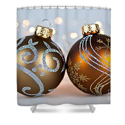 Golden Christmas Ornaments Shower Curtain by Elena Elisseeva