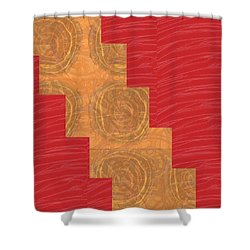 Shower Curtain featuring the photograph Golden Circles Red Sparkle  by Navin Joshi