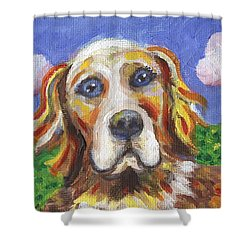 Golden Dog Shower Curtain by Linda Mears