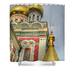 Golden Domes Of Russian Church Shower Curtain by Eti Reid