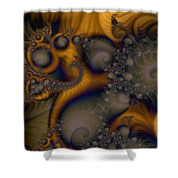 Golden Dream Of Fossils Shower Curtain by Elizabeth McTaggart