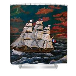 Golden Era Of Sail Shower Curtain by Sharon Duguay