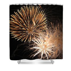 Golden Fireworks Shower Curtain