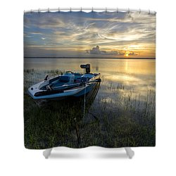 Golden Fishing Hour Shower Curtain by Debra and Dave Vanderlaan