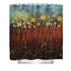 Golden Flowers Shower Curtain by Carmen Guedez