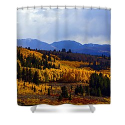 Golden Fourteeners Shower Curtain by Jeremy Rhoades