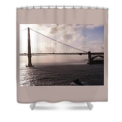 Golden Gate And Bay Bridge Shower Curtain by Jay Milo