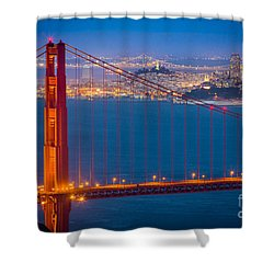 Golden Gate And San Francisco Shower Curtain by Inge Johnsson