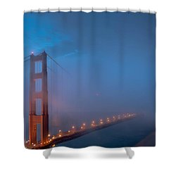Golden Gate At Blue Hour Shower Curtain