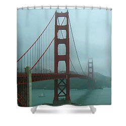 Golden Gate Bridge And Partial Arch In Color  Shower Curtain
