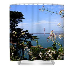 Golden Gate Bridge And Wildflowers Shower Curtain by Carol Groenen