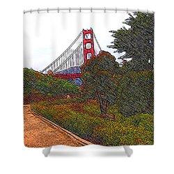 Golden Gate Bridge Crosshatch Shower Curtain