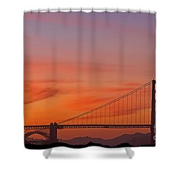 Shower Curtain featuring the photograph Golden Gate Sunset by Kate Brown
