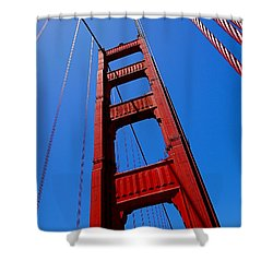 Golden Gate Tower Shower Curtain by Rona Black