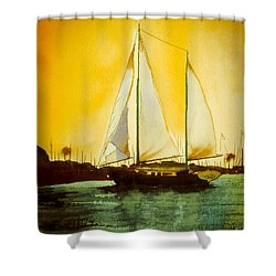 Golden Harbor  Shower Curtain by Kip DeVore