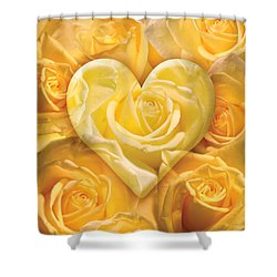 Golden Heart Of Roses Shower Curtain by Alixandra Mullins