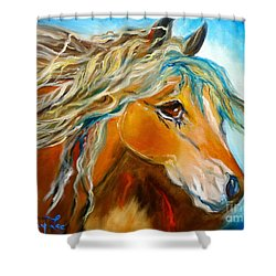 Shower Curtain featuring the painting Golden Horse by Jenny Lee