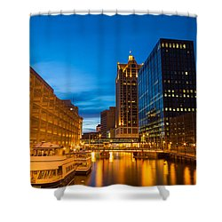 Golden Hour Milwaukee River Shower Curtain